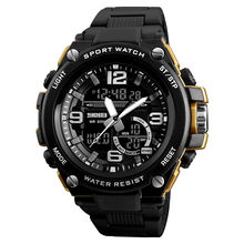 SKMEI 1340 3 time my brand name logo custom printed watch black gold watch mens sport watches