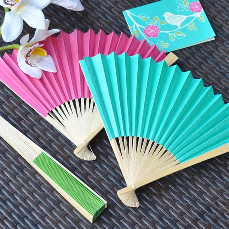 I AM YOUR FANS 9 inch Colorful bamboo frame wedding Paper hand fan printed Bride and Bridegroom name and wedding date is welcom