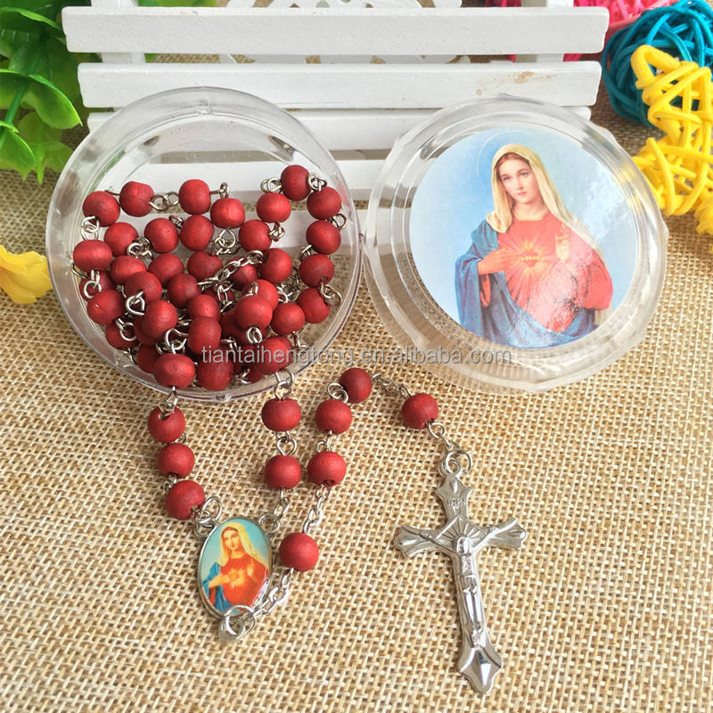 6*7mm wood scented religious rosary catholic perfume necklace