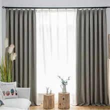 100% Polyester Cotton Linen Windows Curtains Grommet Office Blackout Cortinas