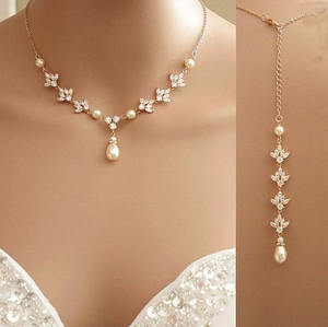 Rose Gold Kristal Backdrop Pearl Cubic Zirconia Bridal Kalung