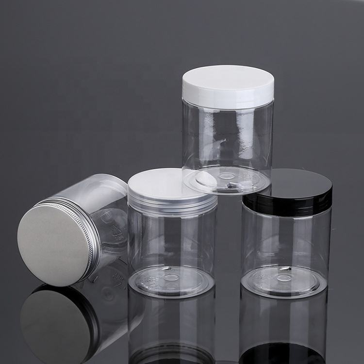 empty food container PET plastic jar 250 ml cosmetic cream jars 250g clear pet 68 caliber PP cap 8oz plastic jar
