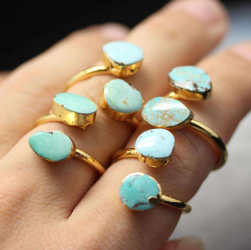 AM-YGH275 Wholesale 2 Stones Blue Turquoise Ring,Gold Plated Adjustable 2 Row Rings Jewelry