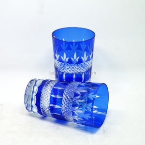 200ml literally faceted long glass tumbler blue