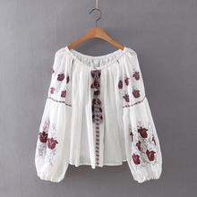 B12012A Europea women retro embroidery tassel cotton loose blouse tops