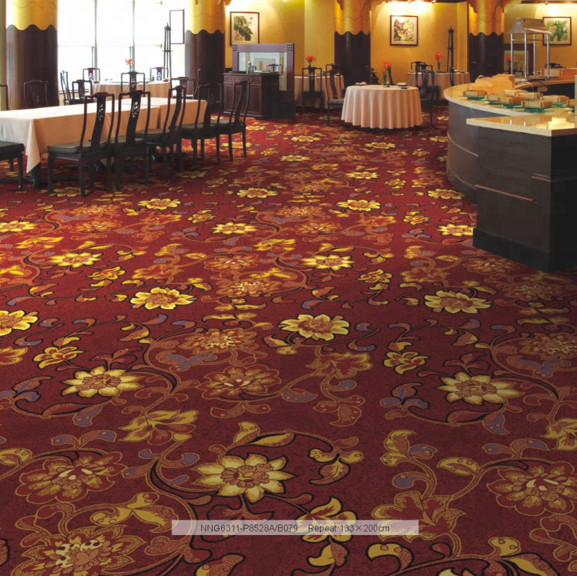 5 Star Hotel Luxury High Quality Fire Resistant Nylon Broadloom Carpet for Banquet Hall