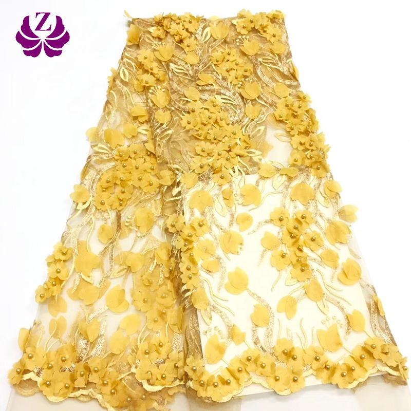 gold african mesh textile embroidery 3d lace fabric beads bridal