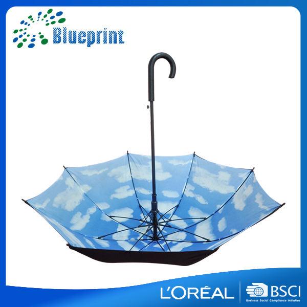 Fotografik tasarım ahşap sopa rüzgar resist tam baskı içinde şemsiye