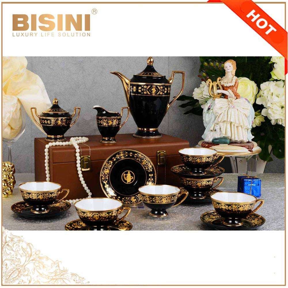 Bone China Tea Set With Teapot Porcelain In Black And Gold/ Luxury European Design With Teapot Ceramic 15pcs Ceramic Coffee Set