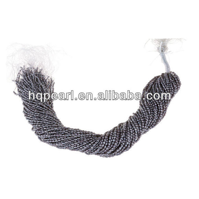 Cheap freshwater rice pearl in string, black color freshwater rice pearl in bulk