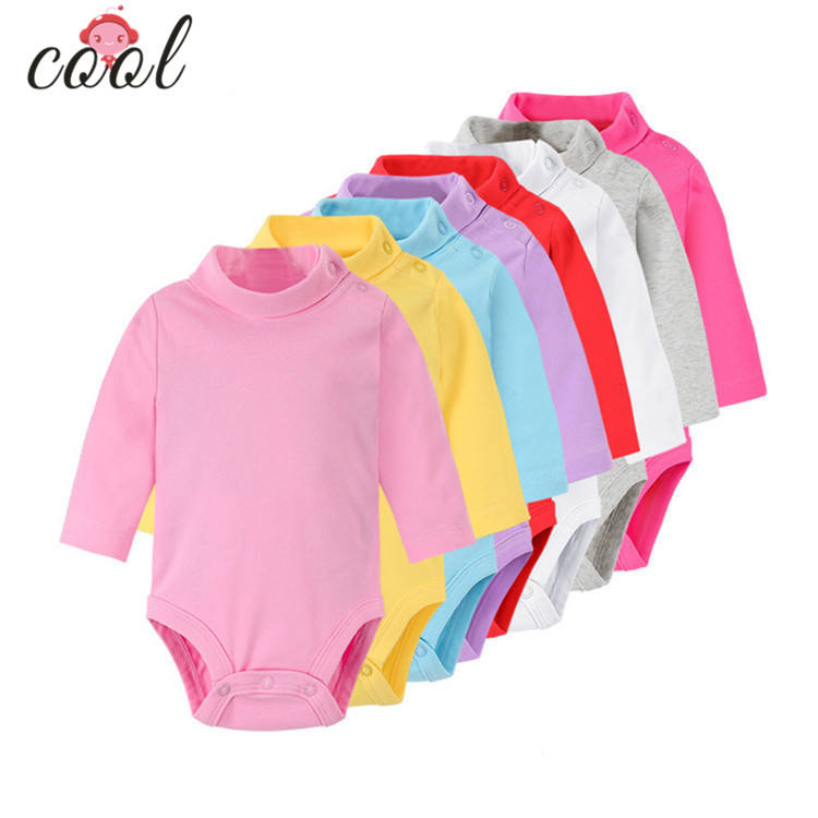 high collar infant toddlers clothing baby romper plain color baby clothing with long sleeve