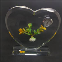 new products crystal heart photo frames with clock for wedding souvenirs guests