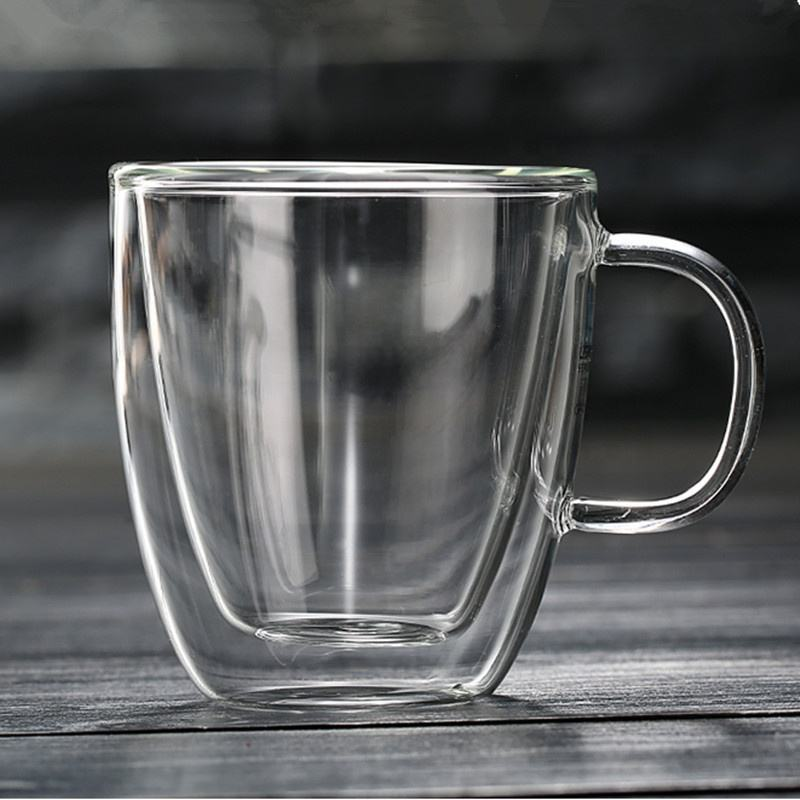 Double-wall 16 oz Borosilicate Glass Coffee Mug Cup with cap