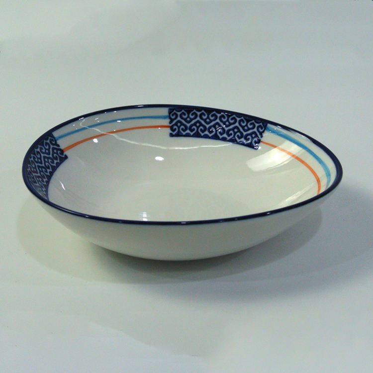 Dinnerware china supplier deep handmade decorative ceramic noodle salad bowl for restaurant