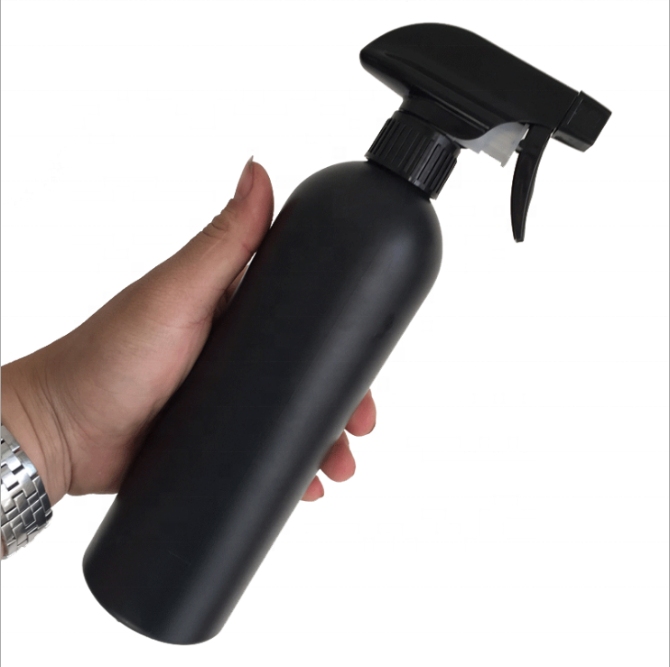 500ml HDPE matt black trigger spray cleaning detergent bottle