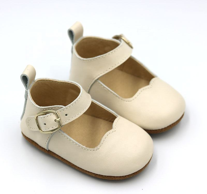 reasonable price anti-slip cow leather cream baby infant leather mary jane cheap toddler shoes