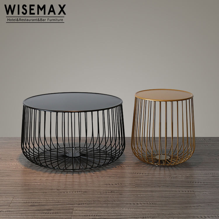 Creative design europe pumpkin shaped metal wire style coffee table with high quality