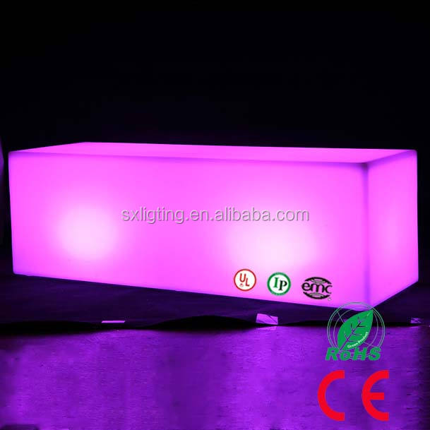 SX-12040-RBCH 16 Colors Illuminated LED Cube Bench Rechargeable Remote LED Color Change Bench LED Bench