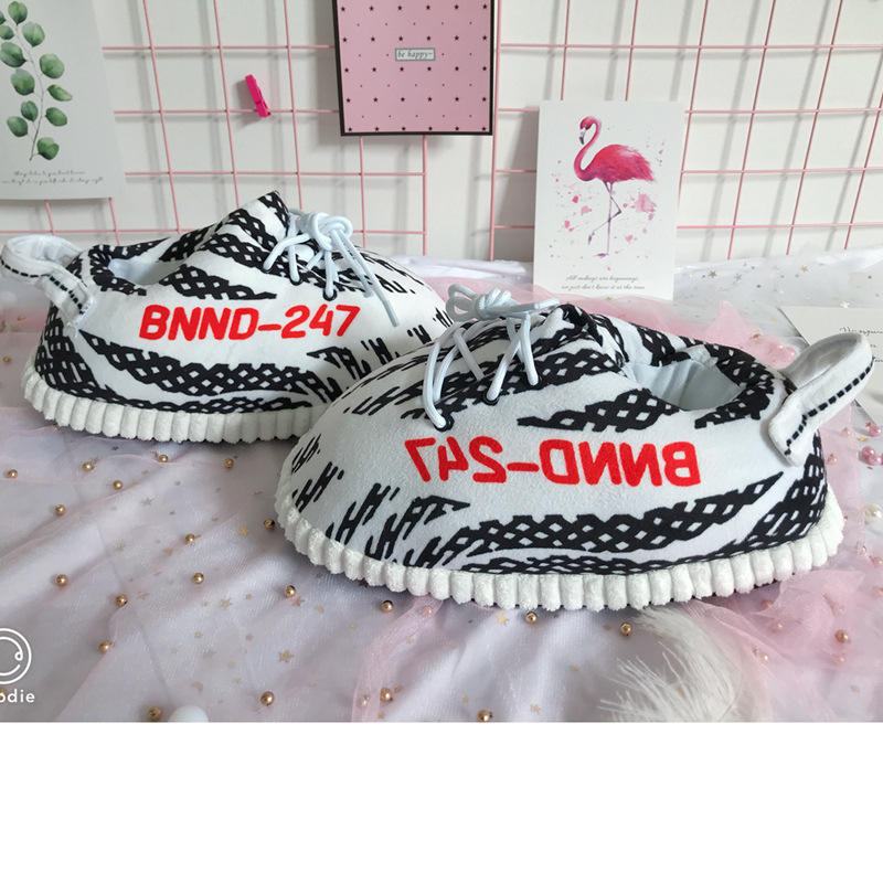 ready to ship average size yeezy plush unisex sneaker warm indoor women men Slippers
