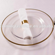 High Quality!!! Clear Glass Gold Rim Round Plate For Wedding