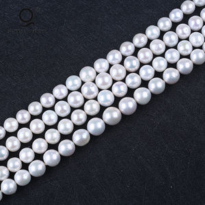AA 12-16mm Perfect Round Natural White Edison Shape Freshwater Pearl Beads Strand String For Necklace