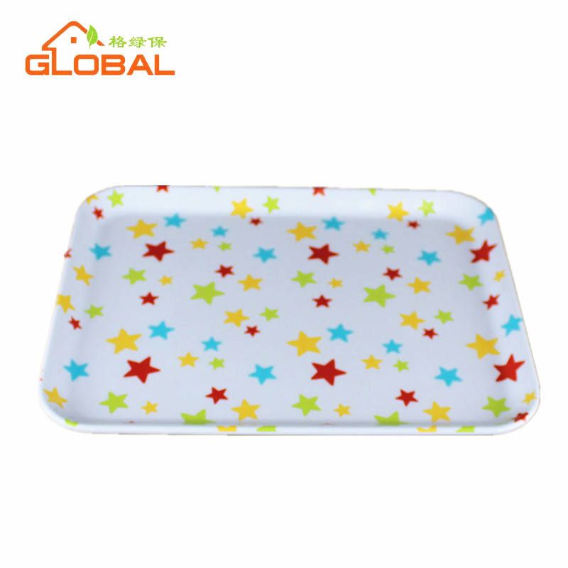 Custom printed rectangular hard plastic tray melamine food drink serving trays