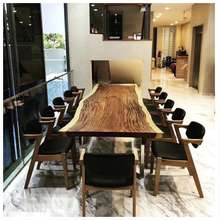 dining room walnut slabs China supplier wholesale solid wood rustic dining tables set