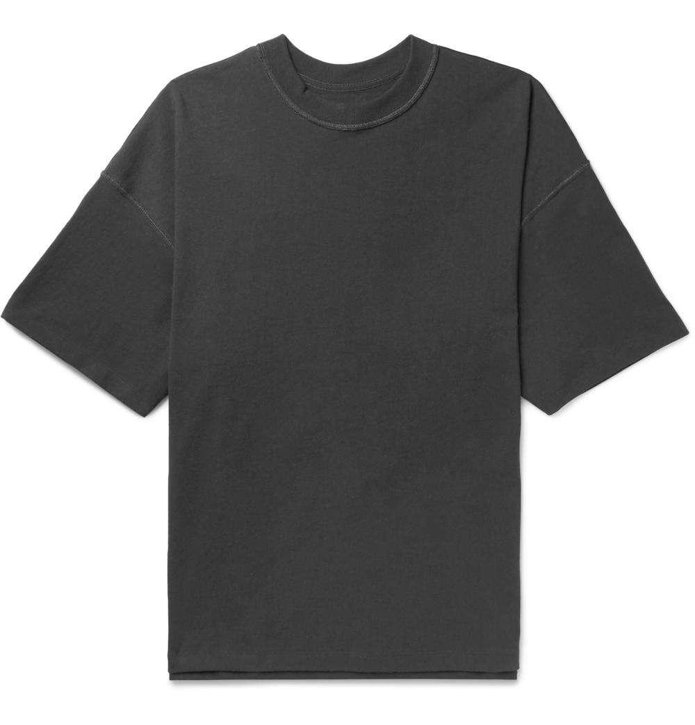 Oversized Cotton Jersey T-Shirt Charcoal Ribbed Crew Neck 100% Cotton Custom Black Mens Short Sleeve Tee