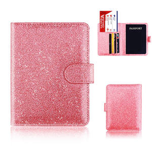 Personalised glitter PU leather passport cover luxury travel wallet ticket passport holder with magnetic buckle
