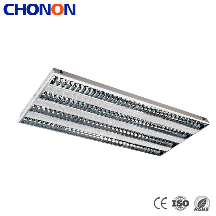 Single Parabolic T5 Fluorescent Tube 2X28W Recessed White Grille Lights