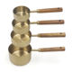 New style 4 pcs wood handle copper plated rose gold measuring cups