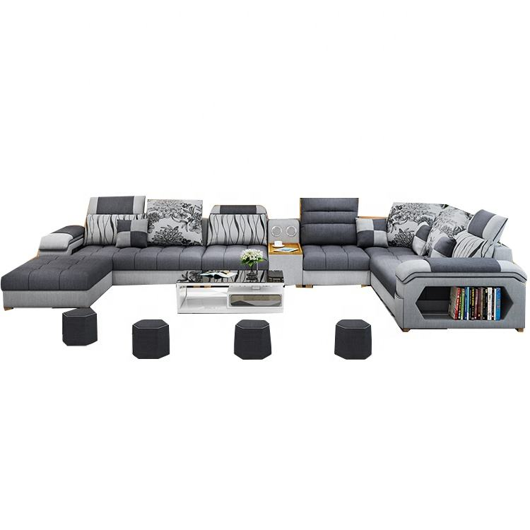 China factory manufacturer Living Room Sofa Specific Use and Fabric Material corner sofa 7 seater set luxury furniture