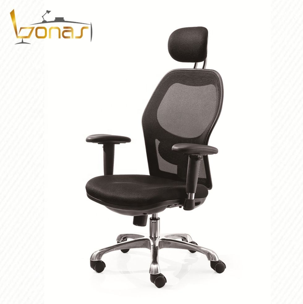 Black swivel adjusted height and armrest office staff mesh chair
