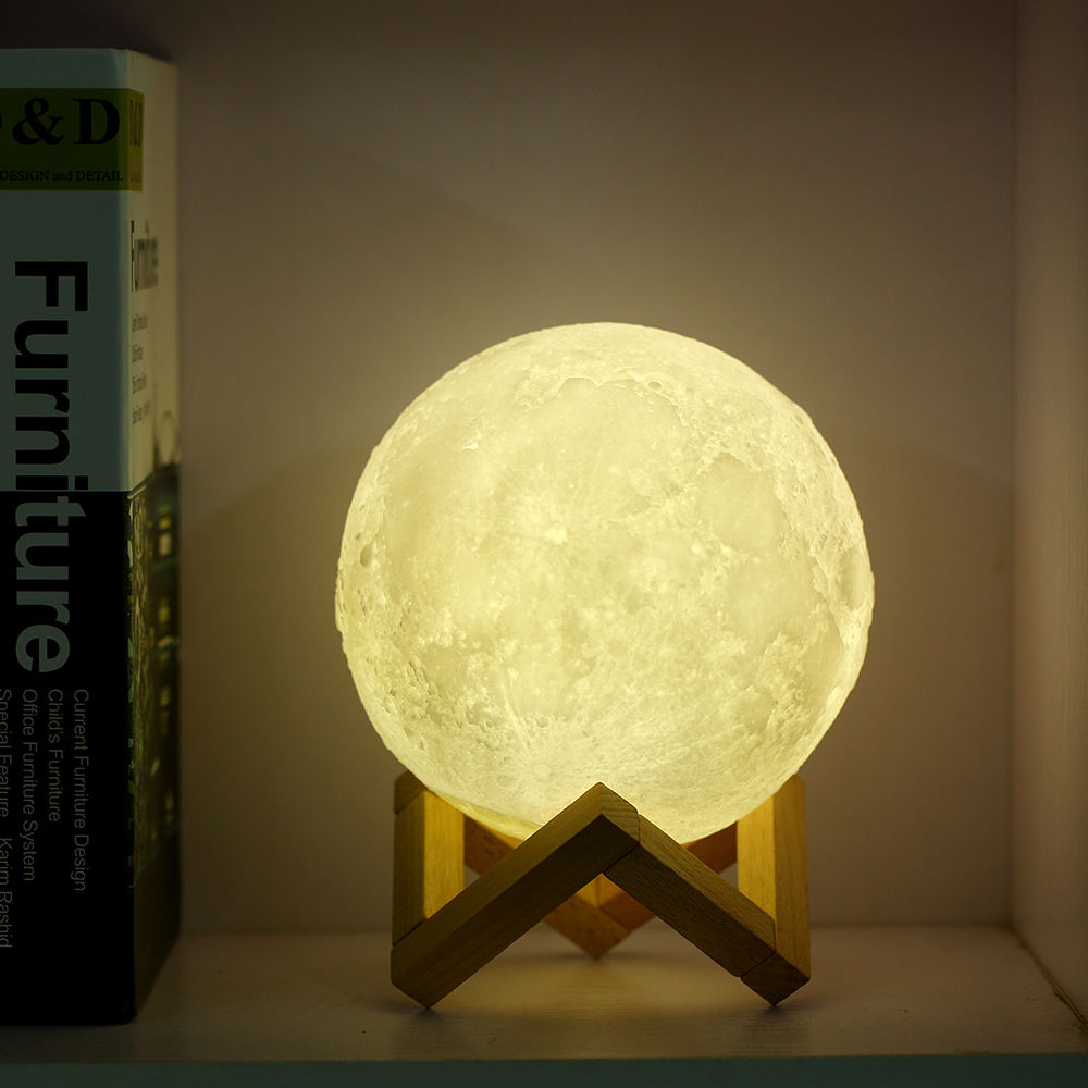 Cheap Price Portable Touch Switch Electric Moon Shaped Lunar Light 3D Print Moon Lamp