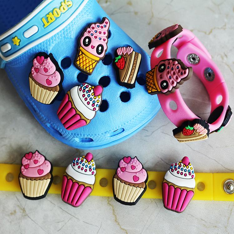Clog Jibbitz Charm Shoe Button Croc Accessories 4 Smile Face Ice Cream Cup Cake