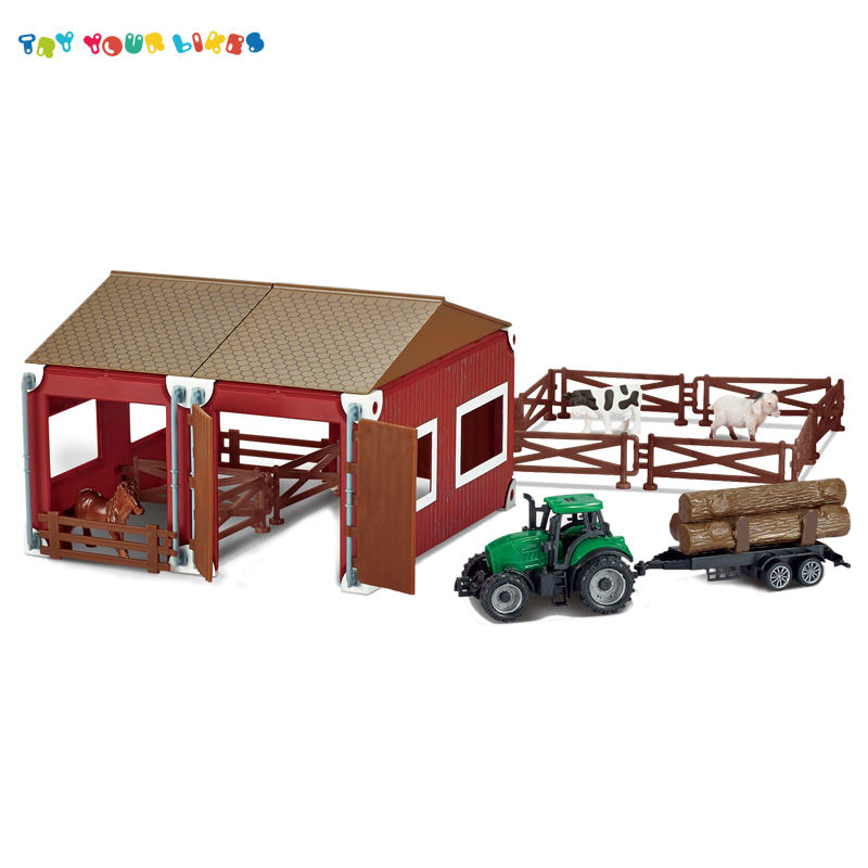 Wholesale children farm house set toy with animal set and truck