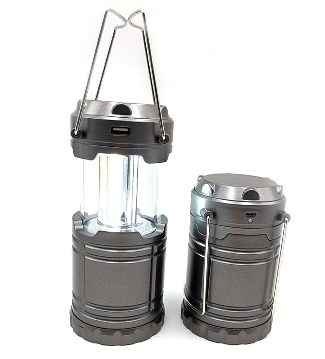 USB Rechargeable and Solar Portable LED COB Camping Lantern Flashlight