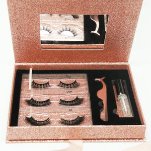 Own brand 3 Pairs lashes book mink eyelashes with private label eyelashes packaging box