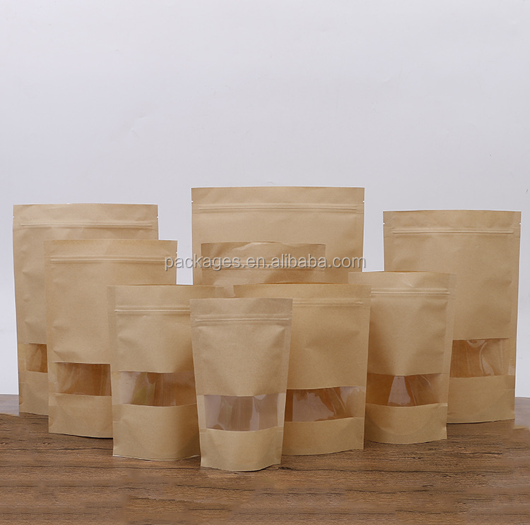 Hot selling food kraft paper bag with window and heat resistant plastic bag dried food packaging
