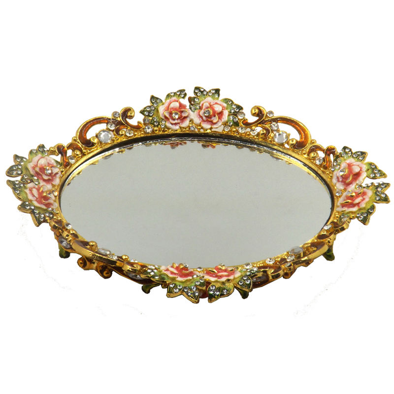 High quality new design zinc alloy gold glass decorative jewelry mirror serving tray