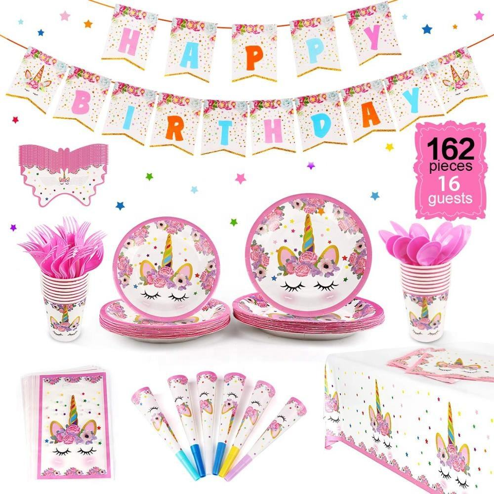 EasternHope 162 PCS Unicorn Party Supplies Set Serves 16 Unicorn Decorations Tableware Girls Birthday Children's Party Supplies