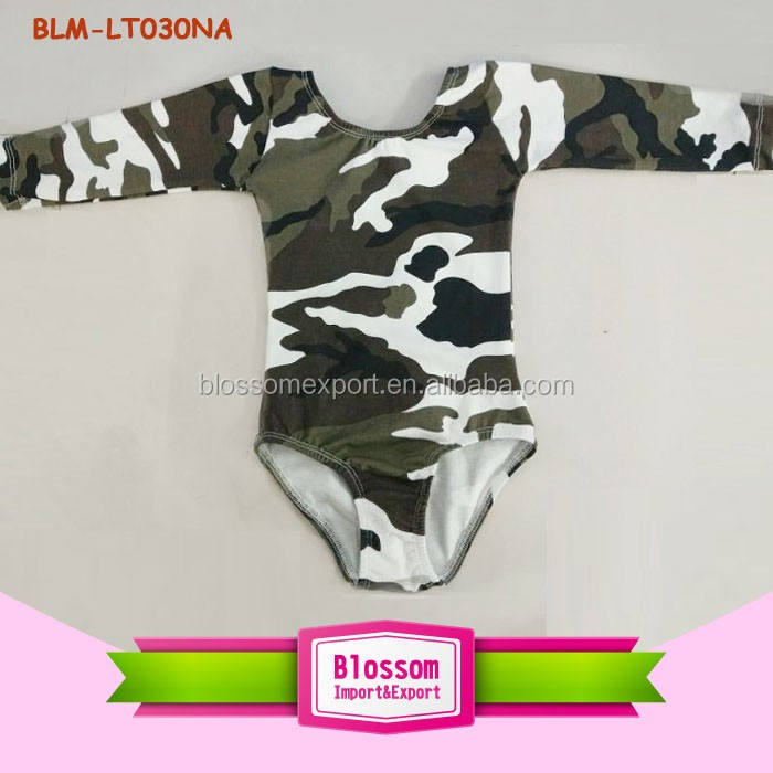 Kids Boys Dance Clothes Performance Dancewear Camo Printed Cotton Ballet Dancing Long Sleeve Children Boy Gymnastics Leotard