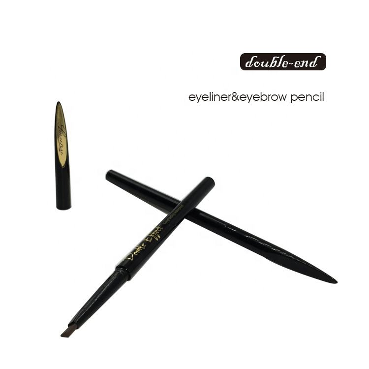 Custom logo perfect double head sample free nature matte eyebrow pencil liquid eye liner 2 in 1 pen
