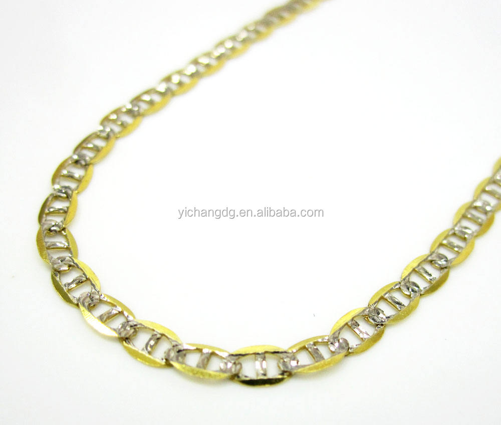 """10K Solid Yellow Gold White Pave Mariner Necklace Chain 2.5mm 16-26/"""" Diamond Cut"""