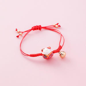 Adjustable Retro Cute Handmade Woven Ceramics Lucky Cat Bracelet with Bell for Girls