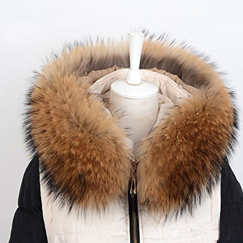 Winter WarmReal raccoon fur hooded detachable fur collar for Women and ladies