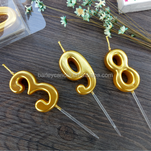 Candle Factory Hot selling Golden Number Cake Candle for Birthday Decoration