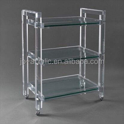 2 and 3 tiers transparent acrylic kitchen rolling serving trolley cart