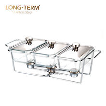 L4014-3 Food Warmer 1.3L*3 Triple Bowl Indian Buffet Glass Chafing Dish