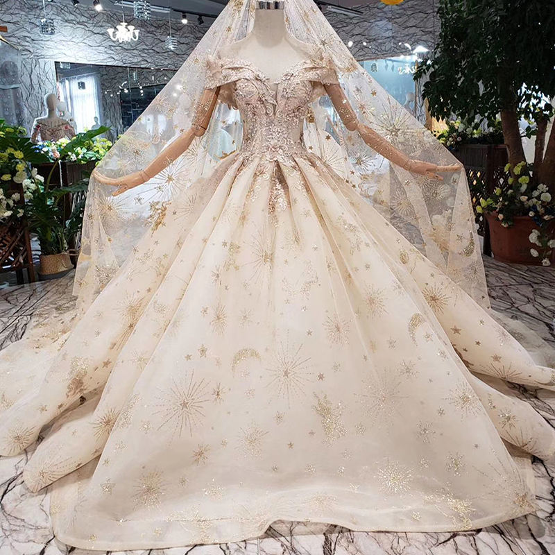 HTL262 Jancember Luxury with veil handmade champagne golden lace bridal dress off shoulder wedding gown with long train
